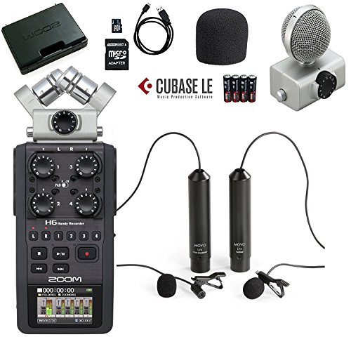 Zoom H6 Six-Track Portable Handy Recorder Bundle with Movo Omnidirectional and Cardioid XLR Lavalier Microphones