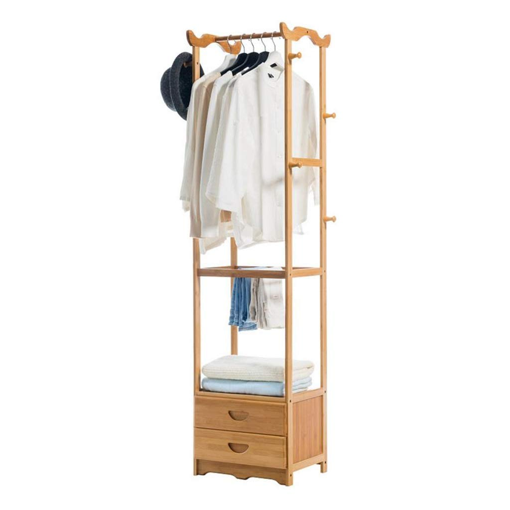 Coat Rack, Bamboo Garment Rack Coat Clothes Hanging Rail with 2 Drawers 8 Hooks Hat Rack Laundry Storage Shelves 42  30  170cm