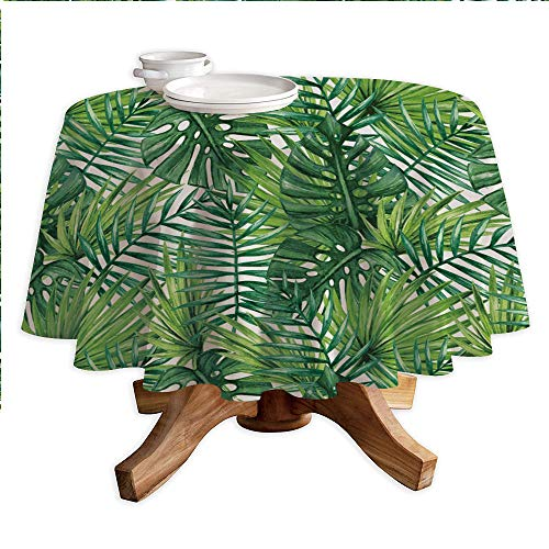 (Leaf Round Polyester Tablecloth,Tropical Exotic Banana Forest Palm Tree Leaves Watercolor Design Image Decorative,Dining Room Kitchen Round Table Cover,42