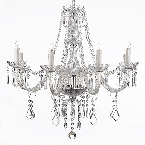 8l Chrome Crystal Chandelier (New Galaxy Lighting Crystal Chandelier 28ht X 28wd 8 Lights Chrome Finish Fixture Pendant Ceiling Lamp)