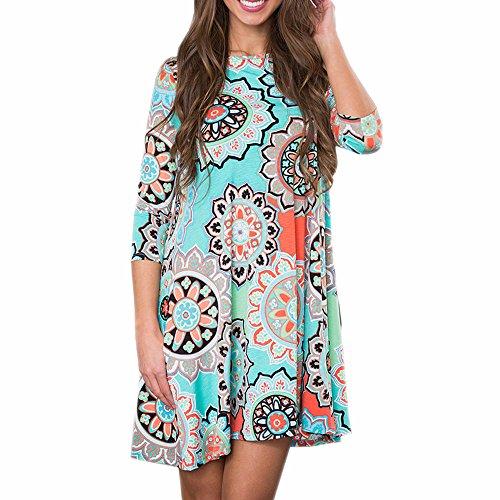 KESEE Womens Clothing☀ Long Sleeve Vintage Boho Maxi Evening Party Beach Floral Dress Casual Loose T-Shirt Dress Knee-Length Skirt (XXL, -
