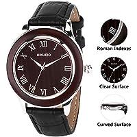 Men's Wrist Watch Quartz Leather Clock 30M Waterproof with Imitation Black Sandalwood Case