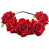Eliffete Red Big Rose Flower Wreath Headband Floral Crown Garland Sexy for Bride