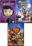 Girls Monsters & Realms Animated Collection Monster in Paris + Coraline & Book of Life Movies DVD Triple Feature