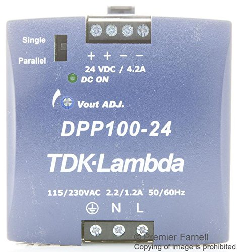 TDK LAMBDA DPP100-24 POWER SUPPLY, DIN RAIL, 1 O/P, 100W, 4.2A, 24V