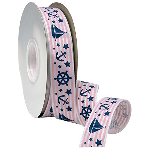 Morex Ribbon Nautical Baby Grosgrain Fabric Ribbon with 7/8-Inch by 25-Yard Spool, Light Pink]()