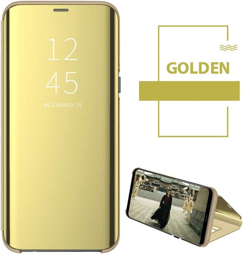 Samsung Galaxy A40, Gold Samsung Galaxy A40 H/ülle Kompatibel mit Samsung Galaxy A30 Mirror Handyh/ülle Flip Clear View Spiegel Schutzh/ülle mit Standfunktion Case Cover PU Handy Schutz Handyh/ülle
