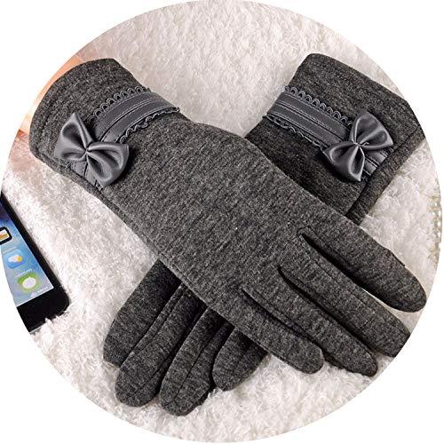 (Bow Knot Women's Winter Cotton Gloves Elegant Warm Glove Mittens Soft Women Screen)