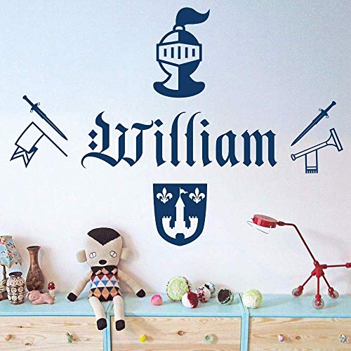 Vinyl Self-Adhesive Wall Art Sticker Knight Sword Armour Trum Removable Bedroom Decoration Art Mural Decals Kids Room 58 42Cm