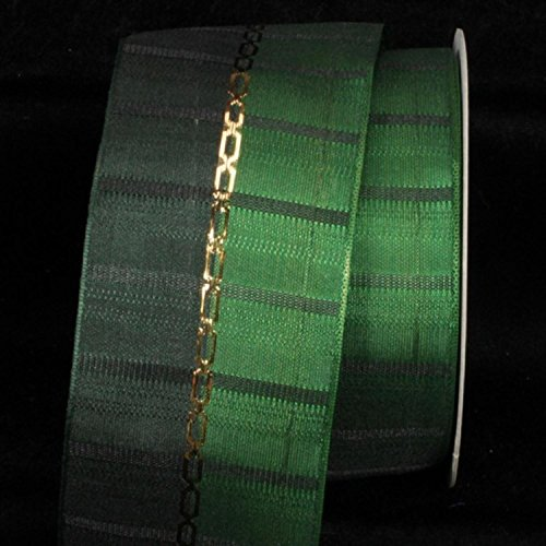 Emerald and Hunter Green Woven Taffeta with Gold Link Print Wired Craft Ribbon 2.5