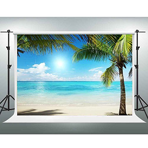 Beach Themed Photo Backdrops (GESEN Summer Backdrop 10X7ft Hawaii Seaside Beauty Fresh Coconut Tree Blue Ocean Leisure Vacation Background You Tube Themed Party Backdrop Video Studio Props)
