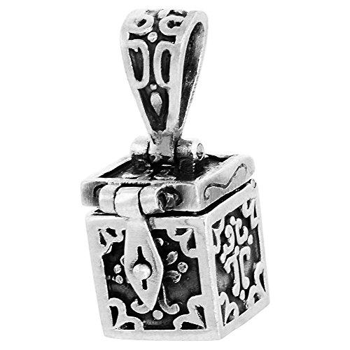 Sterling Silver Prayer Box Pendant Cross Motif, 3/8 inch (Motif Wax Seal)