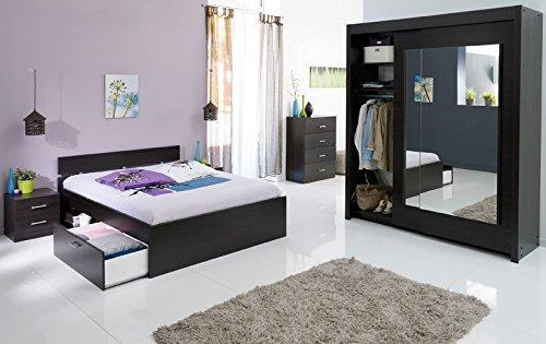 Schlafzimmer Inaco 212 kaffeefarben, Jugendzimmer 4-teilig, Schwebetürenschrank, Bett 160cm, Kommode, Nako