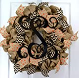 Burlap Vine Monogram Polka Chevron Everyday Year Round Door Wreath - LOTS OF COLORS!!