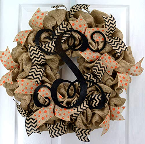 Burlap Vine Monogram Polka Chevron Everyday Year Round Door Wreath - LOTS OF COLORS!!]()