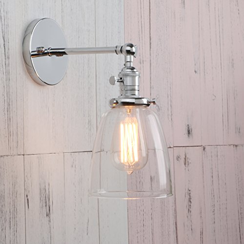 Cone Light Fixture - Permo Industrial Vintage Single Sconce With Oval Cone Clear Glass Shade 1-light Wall Sconce Wall Lamp (Chrome)