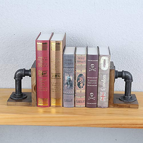 Industrial Bookends Pipe&Wood Book Ends for Shelves,Rustic Metal l Bookend Supports Book Holder,Vintage Tabletop Bookend Organizer Decorative,Book Stopper for Books/Movies/CD/Video Games(1 Pair)