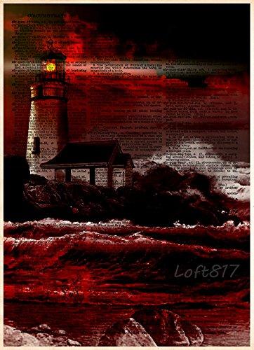 Loft Light 4 (Lighthouse on cliff, creepy light house, red an black themed nautical decor)