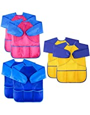 Jolik 6 Pack Kids Art Smocks Children Waterproof Artist Painting Aprons with Long Sleeve and 3 Pockets for Age 3-8 Years
