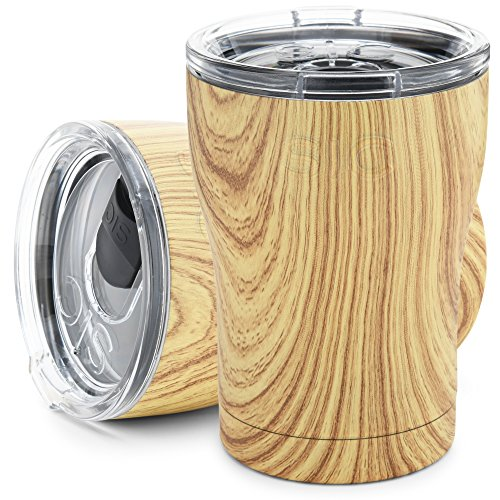 Light Woodgrain 12 Oz. SIC (Seriously Ice Cold) Stainless Steel Tumbler Double Wall Vacuum Insulated Cup No Sweat Travel Mug Multiple Powder Coated Colors