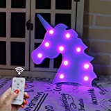 DELICORE Decorative Night Light LED Marquee Sign with Wireless Remote Control for Kids' Room, Bedroom, Gift, Party, Home Decorations (Blue Unicorn Head - Purple Glow)