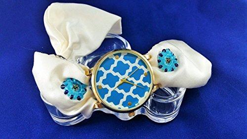 Nautical White Blue Handcrafted Silk Bracelet Watch Women Turquoise Bead Ornament Wedding Jewelry