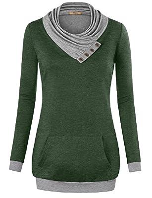 Miusey Pullover Sweatshirt,Women's Long Sleeve Cowl Neck Pullover Sweatshirt with Kangaroos Pocket Thin Lightweight Spring Fall Cowl Neck Sweatshirt Sizes Petites Tshirt Green X-Large