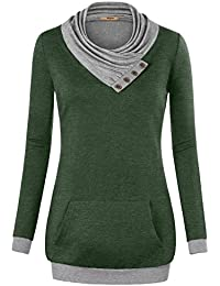 Women's Cowl Neck Long Sleeve Pullover Sweatshirt with...