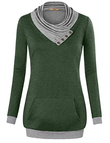 Miusey Tunic Shirt  Womens Long Sleeve Cowl Neck Pullover Sweatshirt With Kangaroo Pocket Green Xx Large