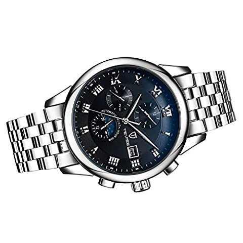 Dovewill Luxury Synthetic Sapphire Lens Men's Elegant Mechanical Wrist Watch Stainless Steel Six Hands Roman Number Time/Date/Week/Month - - Chronograph Synthetic Sapphire