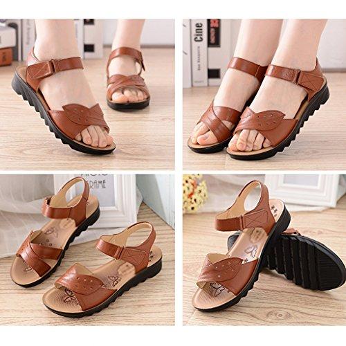 Bottom De Mom Cuero Summer De De C Shoes ZCJB Mujer Edad Mediana Soft Zapatos wq47vZYvxT