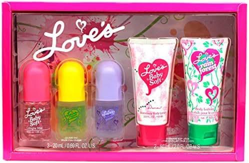 Dana Loves Baby Soft Cologne Body Spray Lotion Box Set for Women Girls, 5 Piece