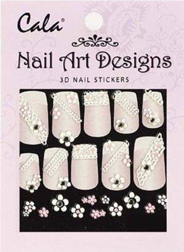 Cala Jeweled 3D Nail Art Stickers x2 Packs Flowers #86388 + Aviva Nail File