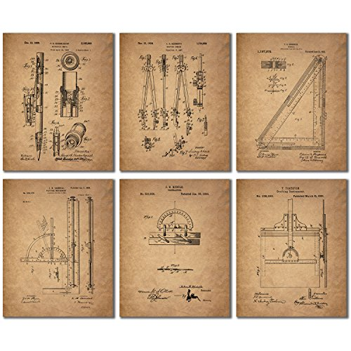 - Architect Drafting Patent Prints - Set of 6 (8 inches x 10 inches) Drafting Wall Art Decor Photos
