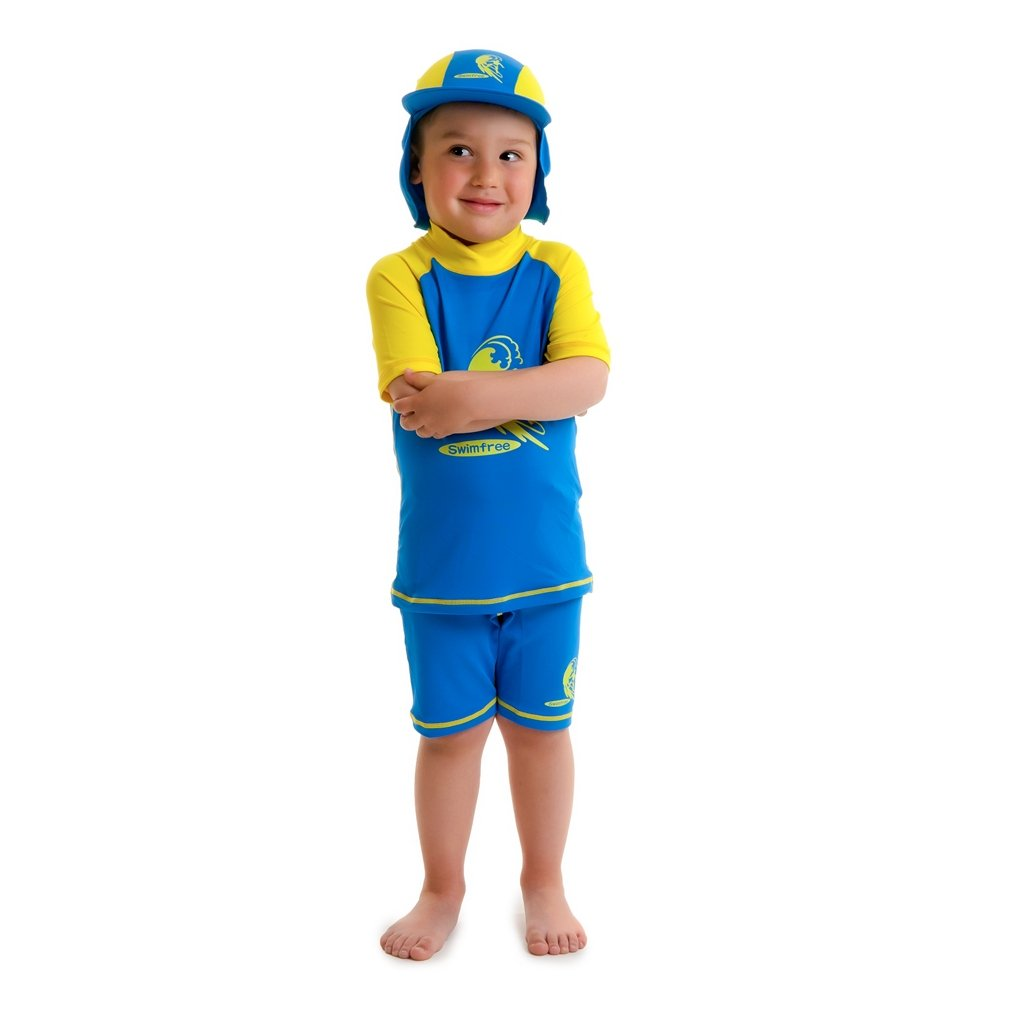 Boys Size L Blue/yellow Sun Uv Protective Beach Safari Swim Hat for Kids Age 7-12 Years Old