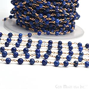 One foot lapis lazuli smooth beads rosary for Craft chain by the foot