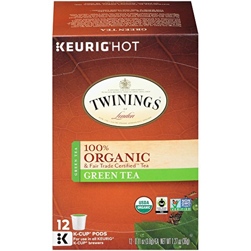 rganic and Fair Trade Certified Pure Green Tea K-Cups for Keurig, 12 Count ()