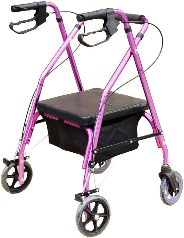 XJZHAN Rodillos De Aluminio Livianos Walker Mango Ergonómico Frenos Bloqueables 4 Ruedas con Bolsa De Almacenamiento Canasta Ayuda para Discapacitados