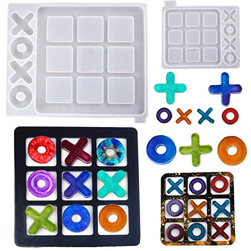 Resin Casting Tic Tac Toe Game Molds XO Silicone Resin Jewelry Making Molds HOT