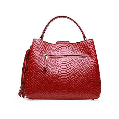Para De Hombro De De Mujer rojo Bolsas De Piel Bolso Negro Cocodrilo Superior Asa Mano Bolsas De r6rqw0O