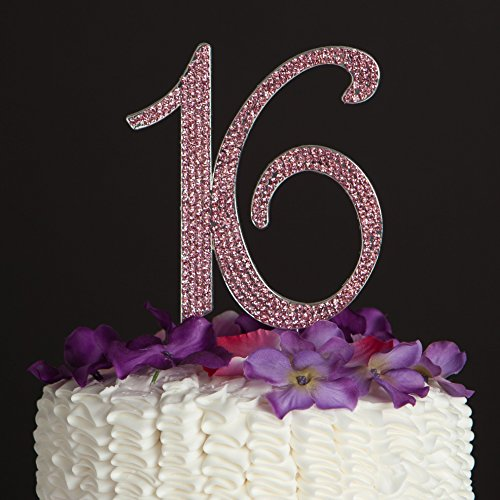 Ella Celebration 16 Cake Topper Pink 16th Birthday Party Decoration Number Sixteen (Pink) by Ella Celebration