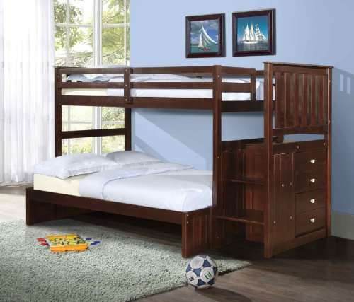 Twin over Full Mission Stairway Bunk Bed with Built-in Chest