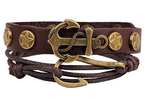 Konalla Anchor Men's Leather Multistrand Weave Fishhook Bangle Bracelet (Homemade 80s Costumes For Couples)