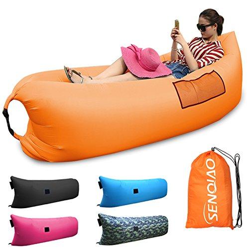 SENQIAO Inflatable Waterproof Air Bed Lounger Sofa Sleeping Bag for Camping Beach Backyard Park