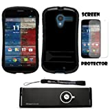 Black Hybrid Tough Protective Shield Cover Case with Kick Stand For Motorola Moto X Android OS V4 2.2 (Jelly Bean) + Motorola Moto X Clear Screen Protector + Supertooth Disco Bluetooth Speaker with AUX Cable + an eBigValue Determination Hand Strap