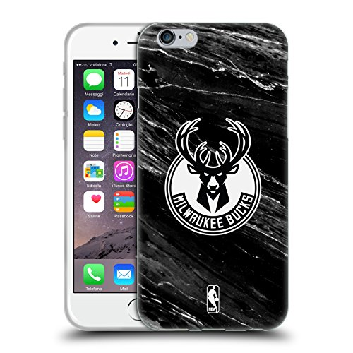 Official NBA B&W Marble Milwaukee Bucks Soft Gel Case for Apple iPhone 6 / 6s (B/w Iphone)