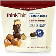 thinkThin Protein Bites, Salted Caramel, 4.5 oz Bag (3 Servings)