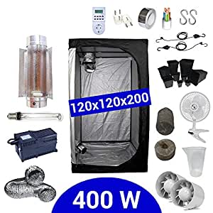 Kit de cultivo interior 400W SHP Cooltube Protube - Armario 120x120x200 - Balastro ETI 2