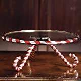 CANDY CANE GLASS CAKE PLATE SERVER