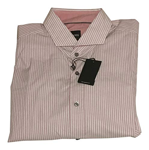 - Hugo Boss NWT XL RED White Striped Shirt Spread Collar Cotton